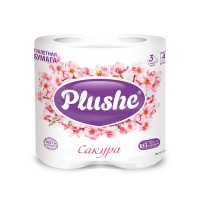 Plushe Deluxe т/б 4 рулона 3 слоя 15м Сакура